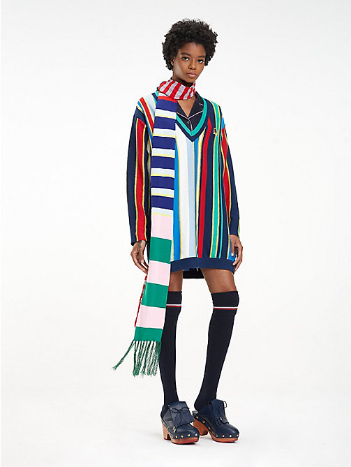 HILFIGER COLLECTION Stripe Knitted Scarf - MEDIEVAL BLUE / MULTI - HILFIGER COLLECTION Hilfiger Collection - main image