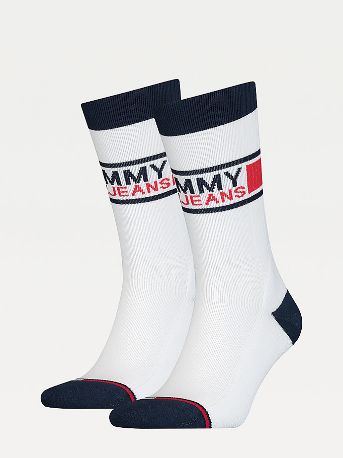 white 2-pack sporty socks for unisex tommy jeans