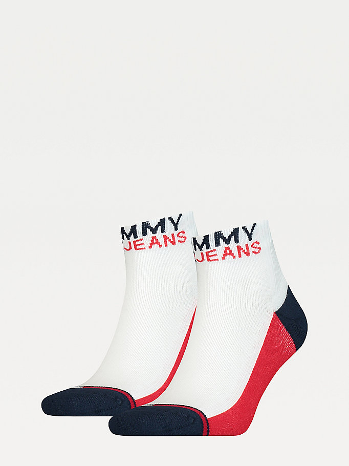 white 2-pack cushioned quarter socks for unisex tommy jeans