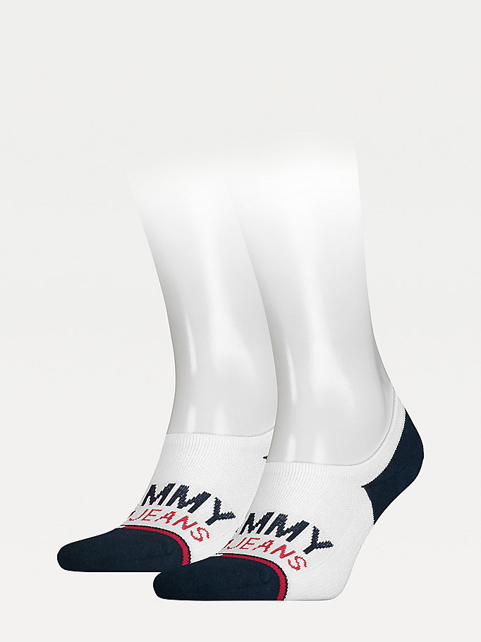 white 2-pack no-show trainer socks for unisex tommy jeans