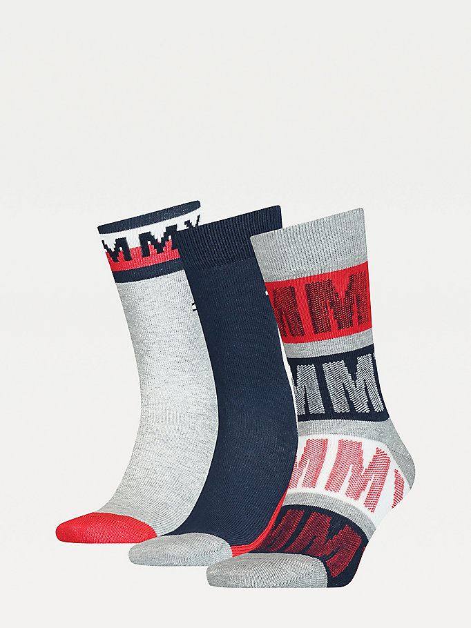blue 3-pack stretch cotton blend socks for unisex tommy hilfiger