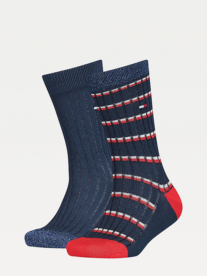 blue 2-pack sparkle knit socks for unisex tommy hilfiger