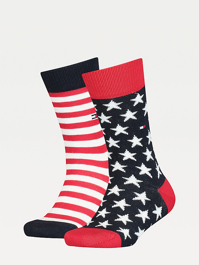blue 2-pack stars and stripes socks for unisex tommy hilfiger