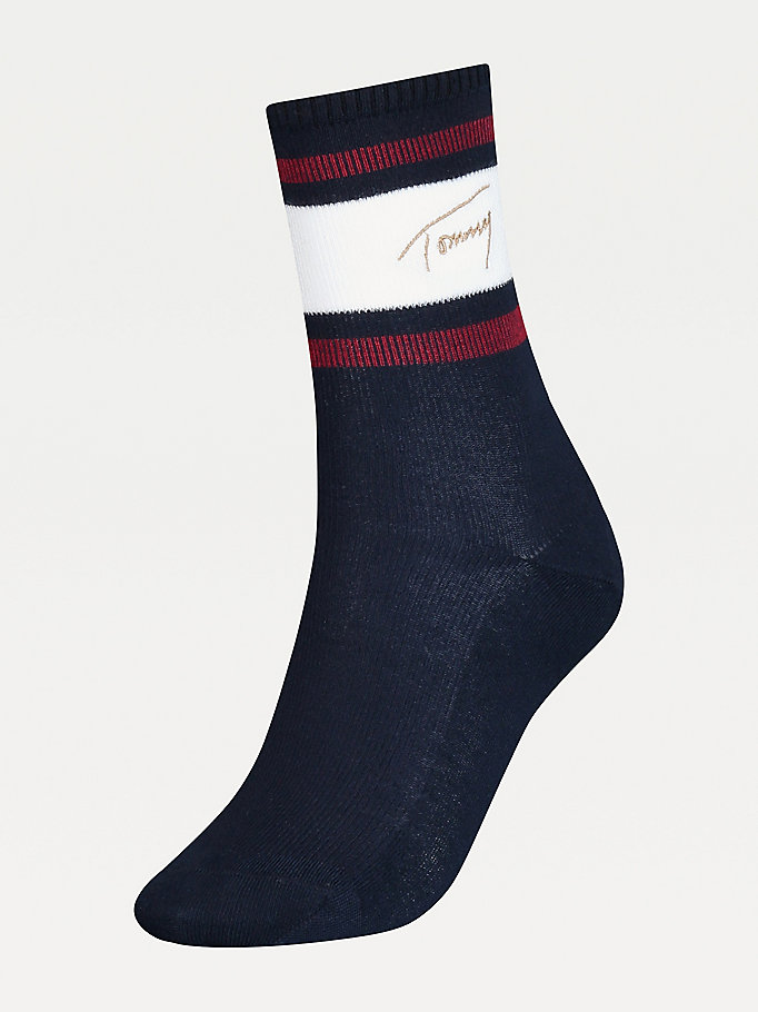 blue signature socks for women tommy hilfiger