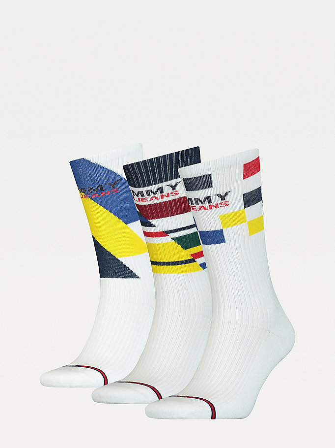 white 3-pack square stripe socks gift set for unisex tommy jeans