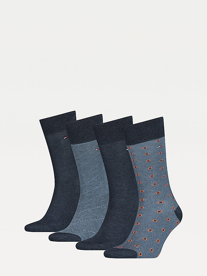 blue 4-pack knee-high socks gift box for men tommy hilfiger
