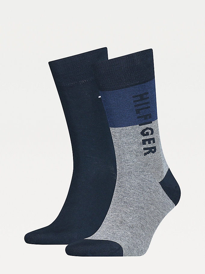 blue 2-pack stretch cotton nylon socks for men tommy hilfiger
