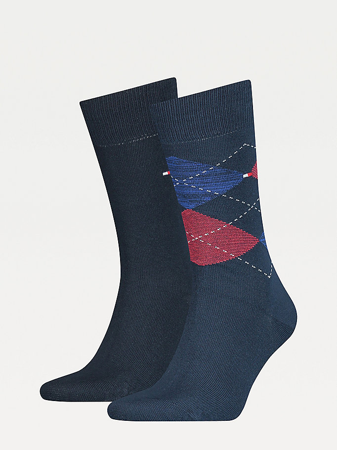 blue 2-pack argyle reinforced socks for men tommy hilfiger