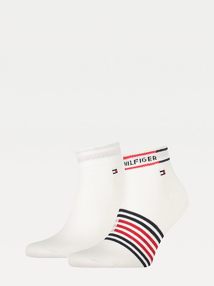 white 2-pack breton stripe quarter socks for men tommy hilfiger