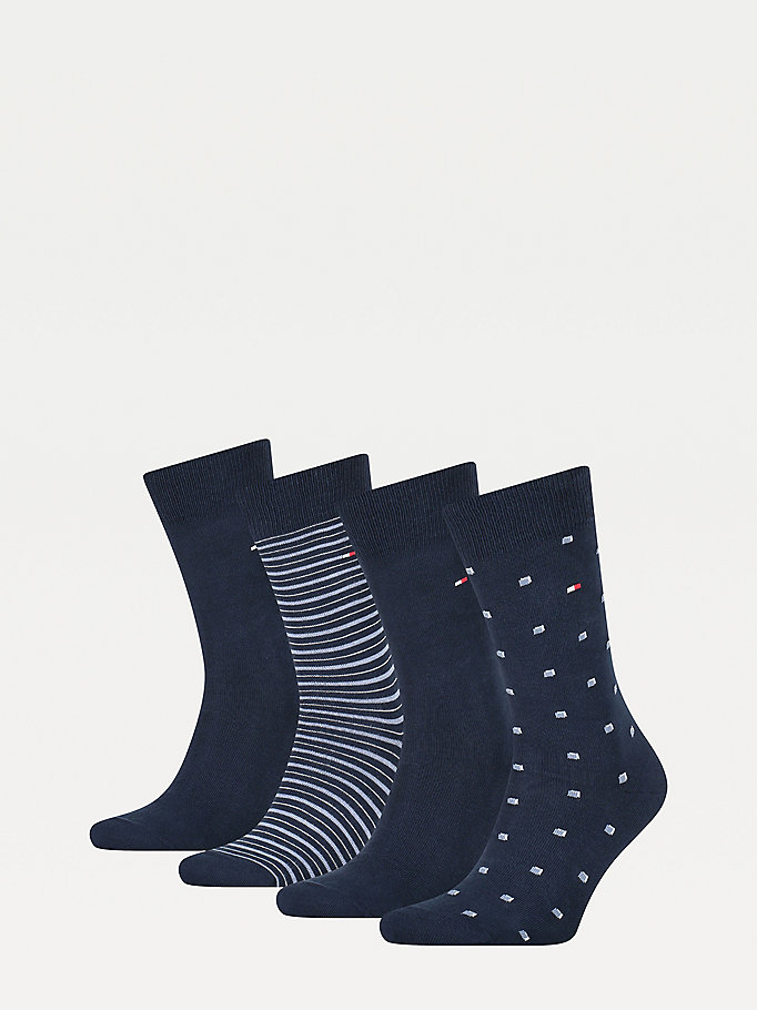 blue 4-pack stretch cotton socks for men tommy hilfiger