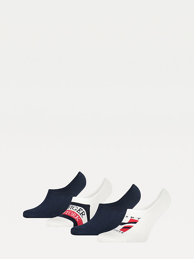 white 4-pack footie socks for men tommy hilfiger