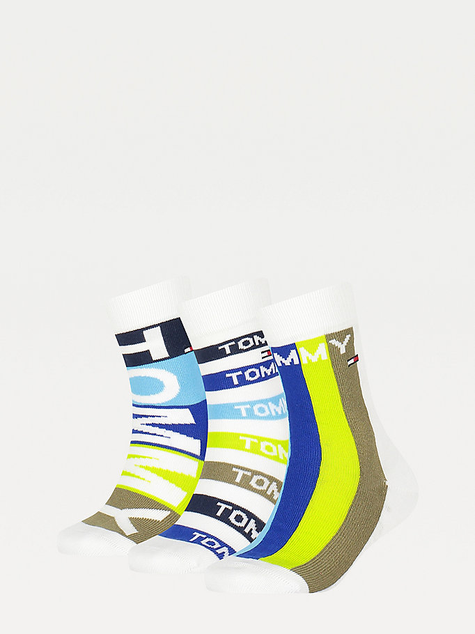 blue 3-pack multicolour stripe socks for unisex tommy hilfiger