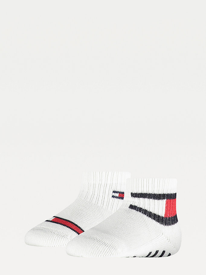 white 2-pack flag cotton-rich socks for unisex tommy hilfiger