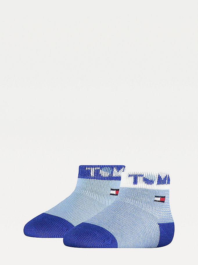 blue 2-pack logo cuff socks for unisex tommy hilfiger