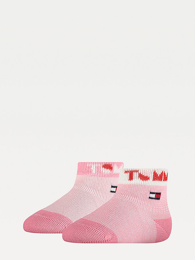 pink 2-pack logo cuff socks for unisex tommy hilfiger