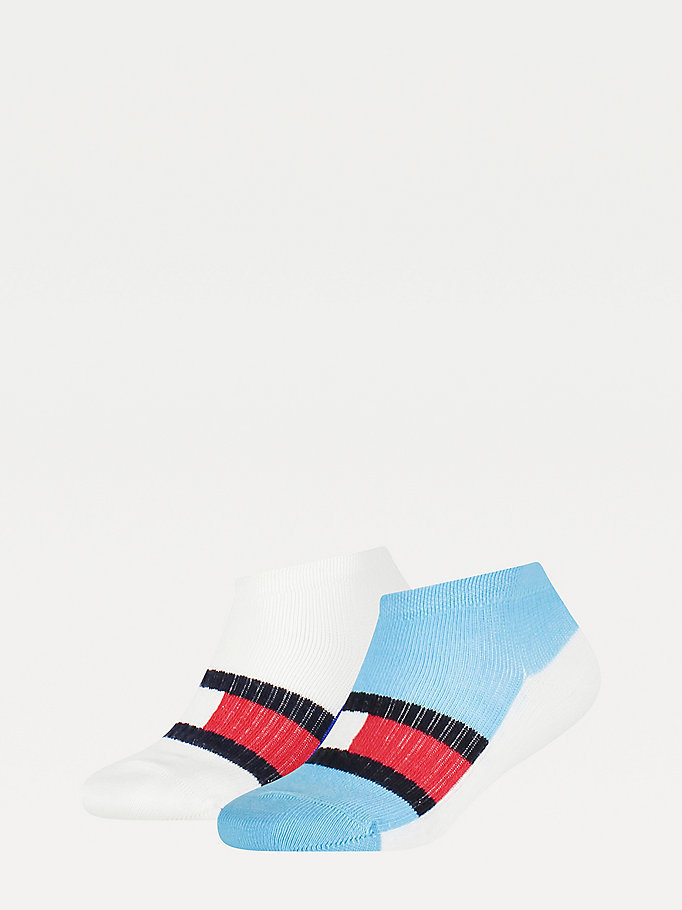 blue 2-pack colour-blocked trainer socks for unisex tommy hilfiger