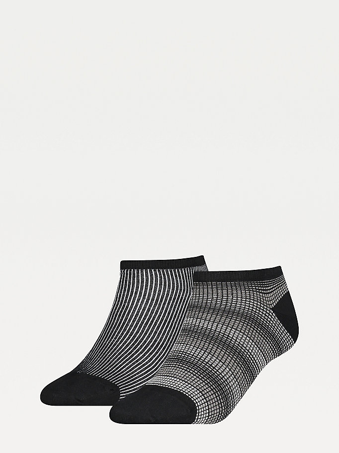 black 2-pack ombre trainer socks for women tommy hilfiger