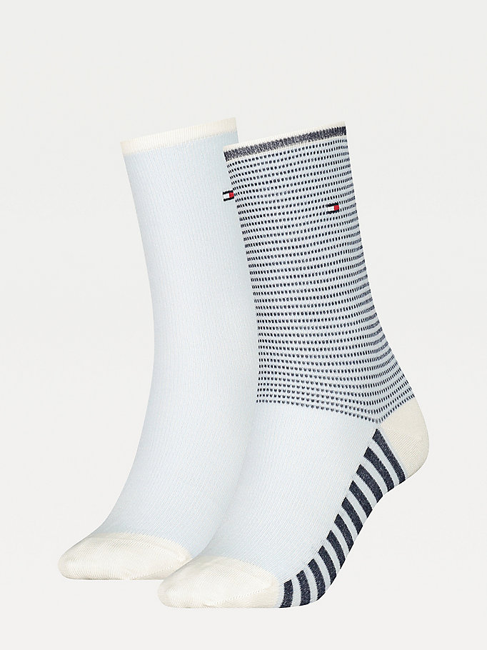 white 2-pack ribbed stripe socks for women tommy hilfiger