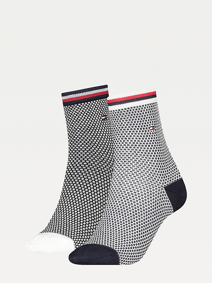 blue 2-pack honeycomb ankle socks for women tommy hilfiger