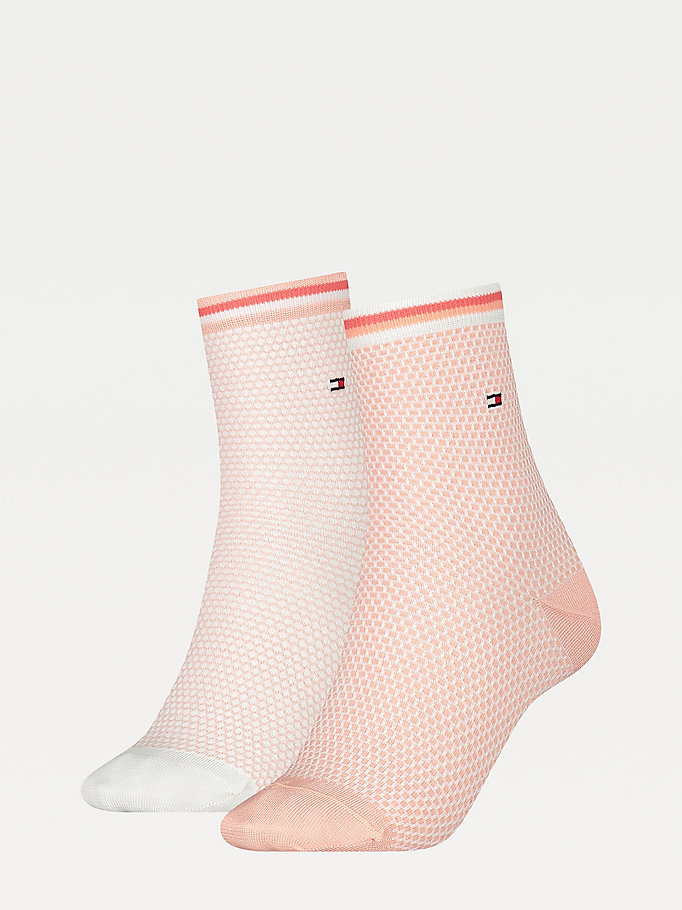 pink 2-pack honeycomb ankle socks for women tommy hilfiger