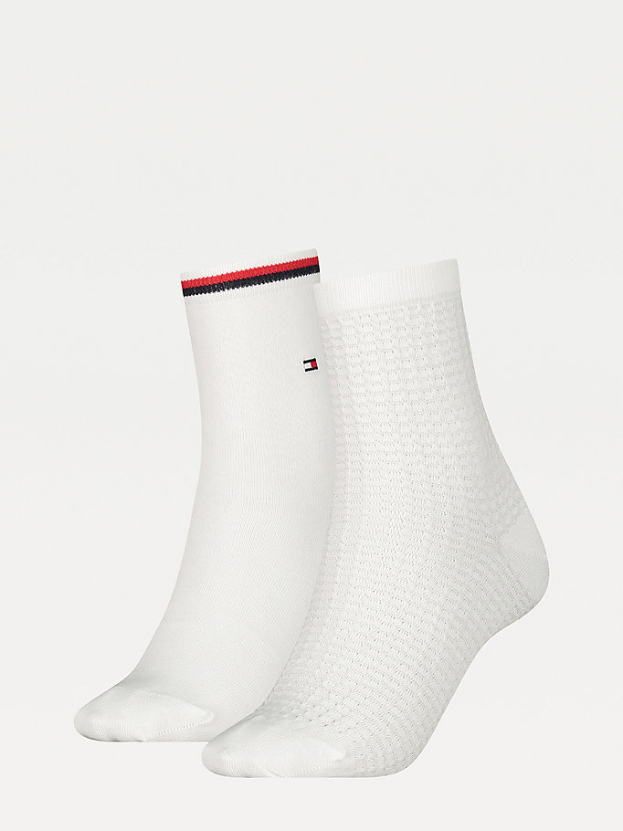 white 2-pack waffle ankle socks for women tommy hilfiger