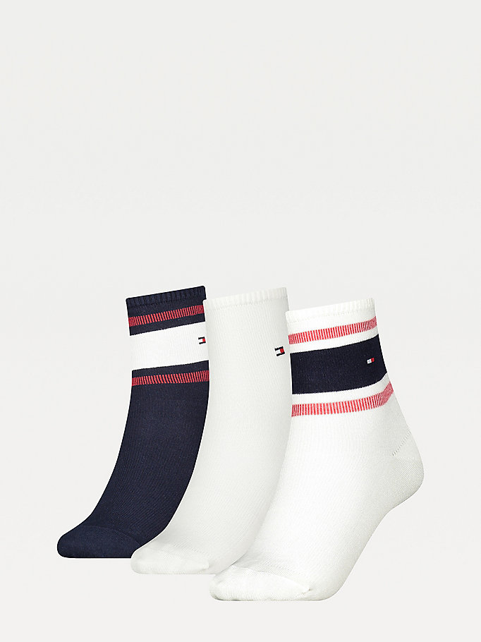 blue 3-pack ribbed gift box ankle socks for women tommy hilfiger