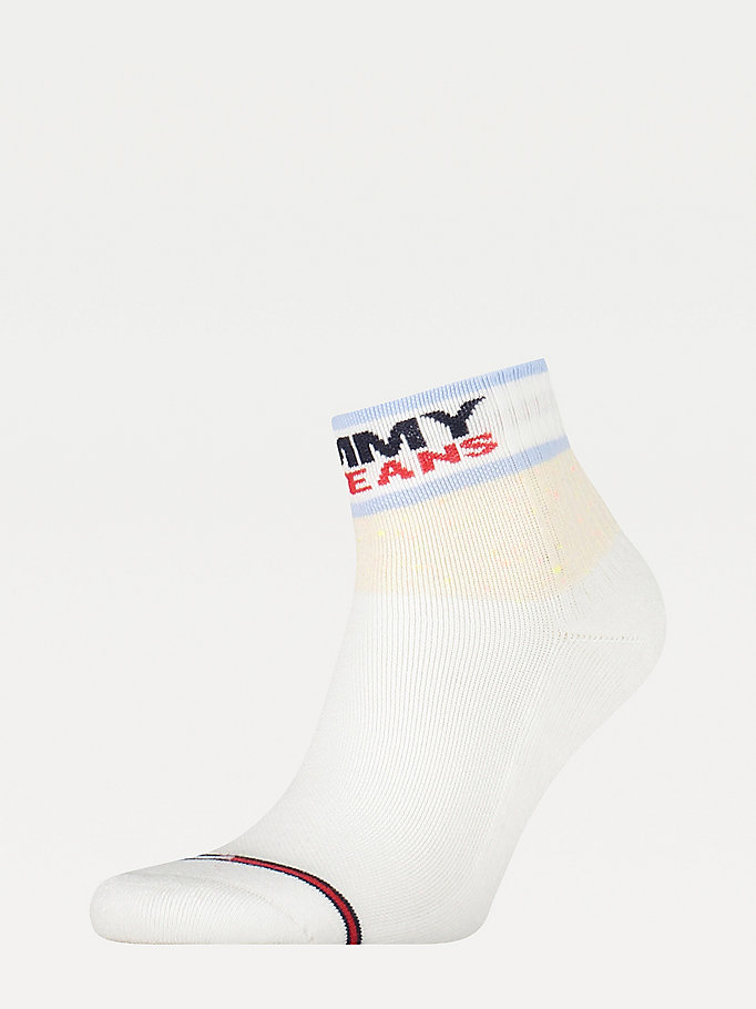 white mixed texture colour-blocked socks for unisex tommy jeans