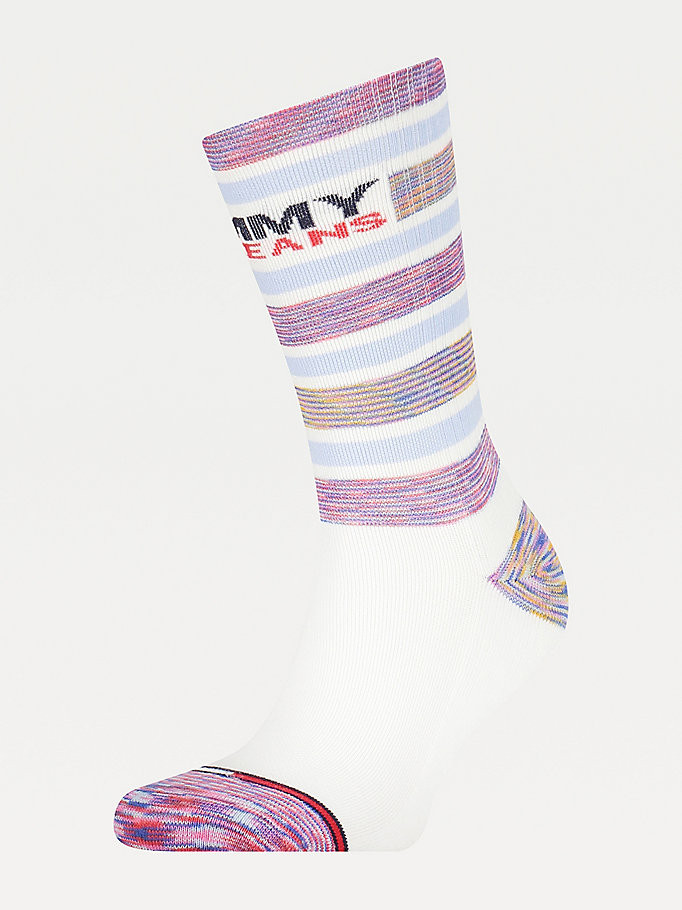 white stripe mixed texture socks for unisex tommy jeans
