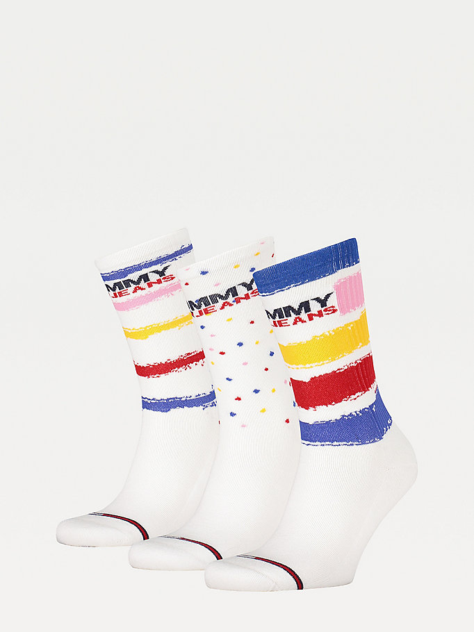 white 3-pack mixed pattern gift box socks for unisex tommy jeans