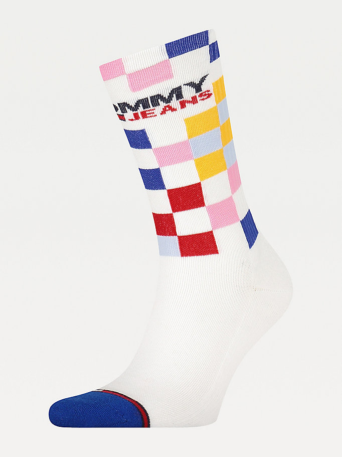 white racer check socks for unisex tommy jeans