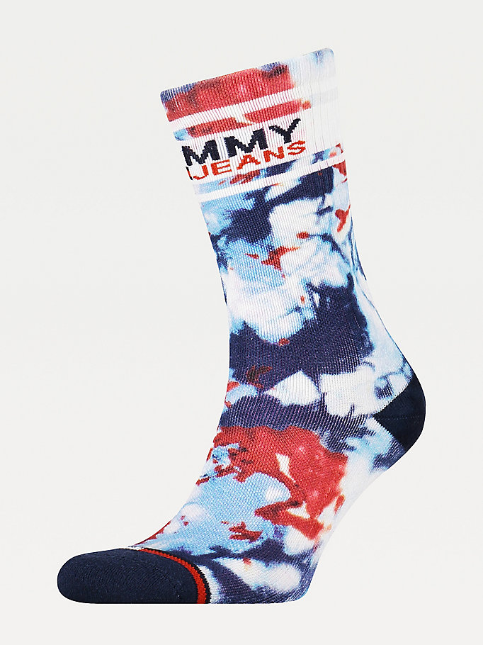 blue tie dye socks for unisex tommy jeans