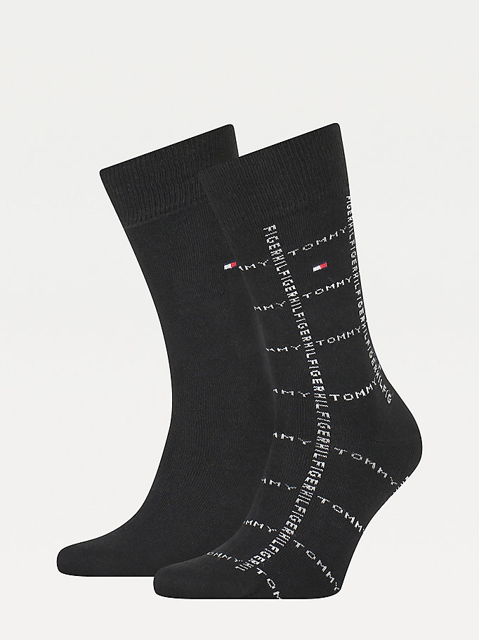 black 2-pack birdseye knit socks for men tommy hilfiger