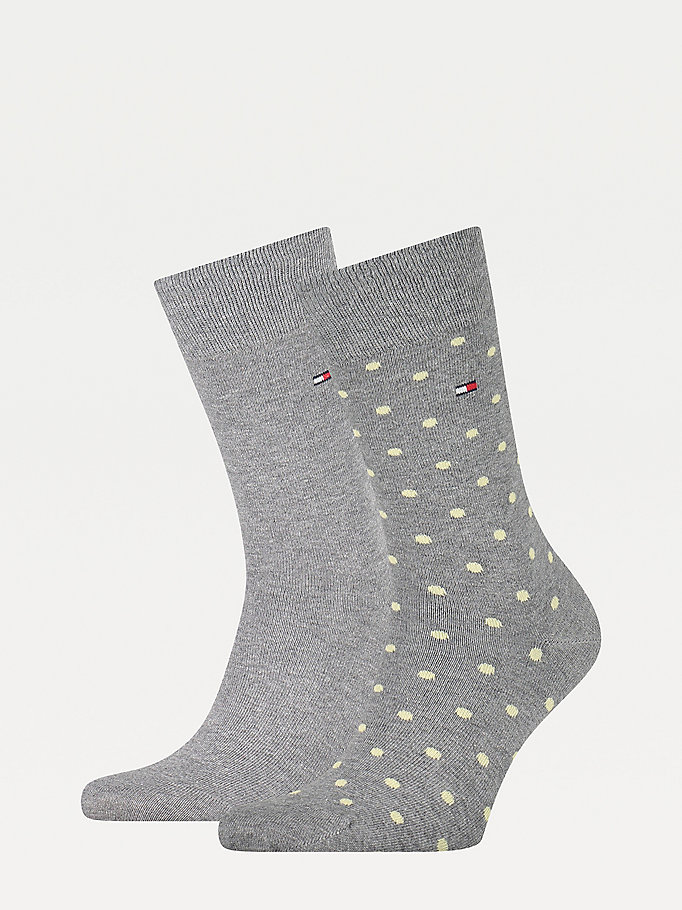 grey 2-pack polka dot socks for men tommy hilfiger