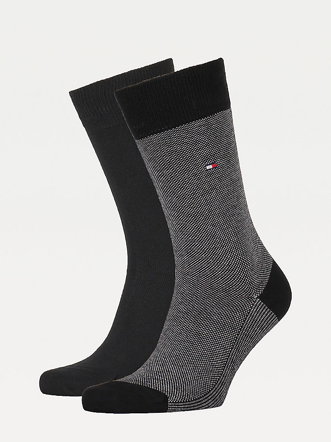 black 2-pack textured knit socks for men tommy hilfiger