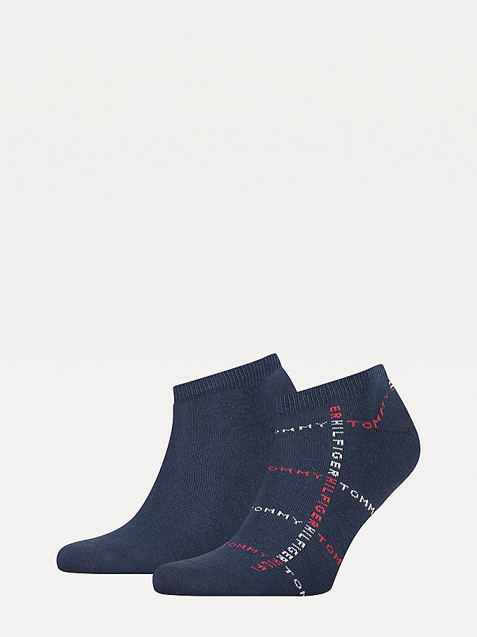 blue 2-pack logo trainer socks for men tommy hilfiger