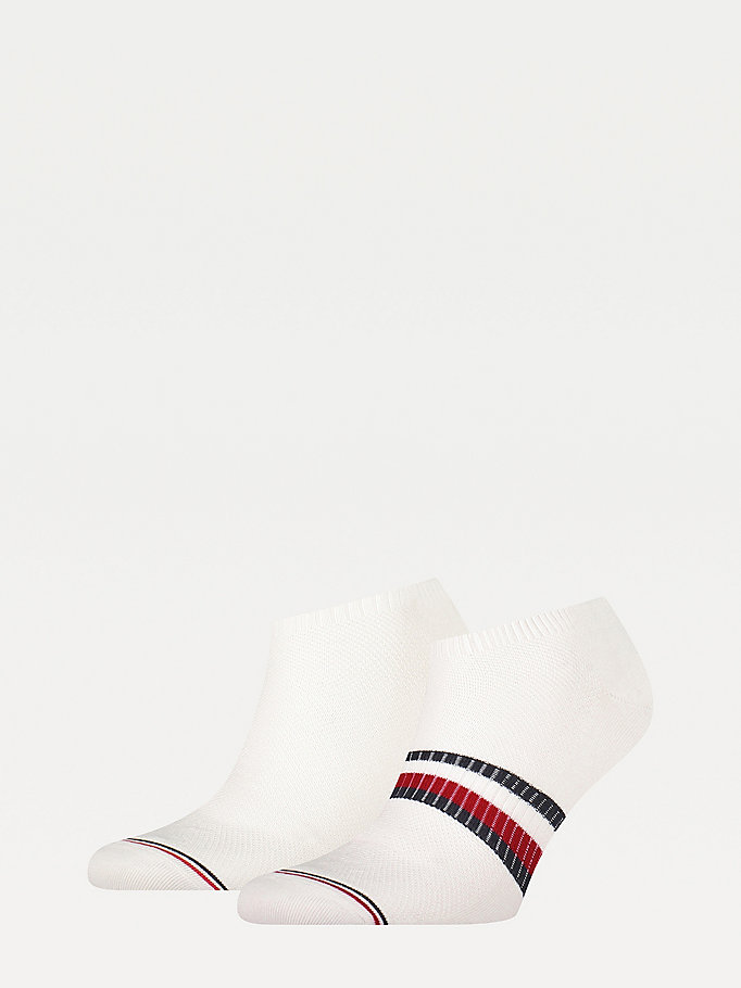 white 2-pack flag trainer socks for men tommy hilfiger
