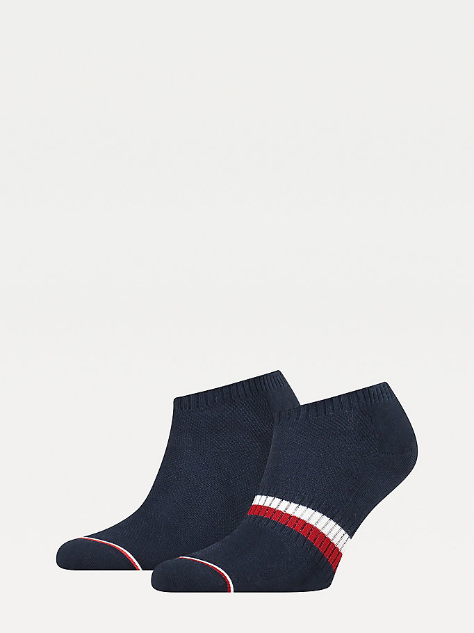 blue 2-pack flag trainer socks for men tommy hilfiger