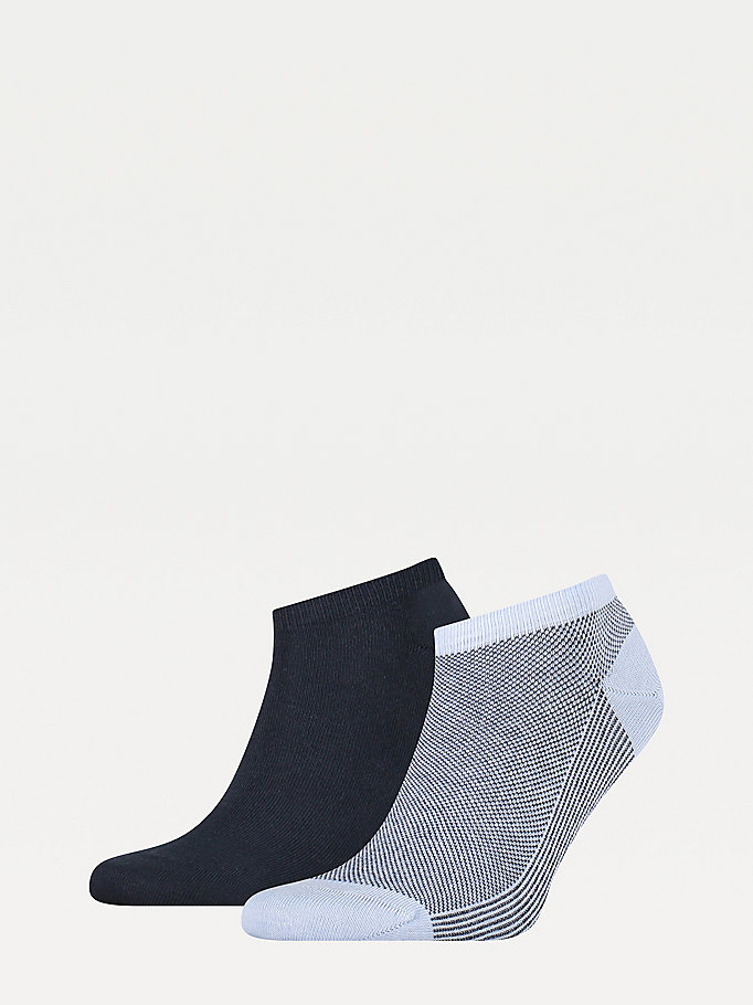 blue 2-pack bird's eye trainer socks for men tommy hilfiger