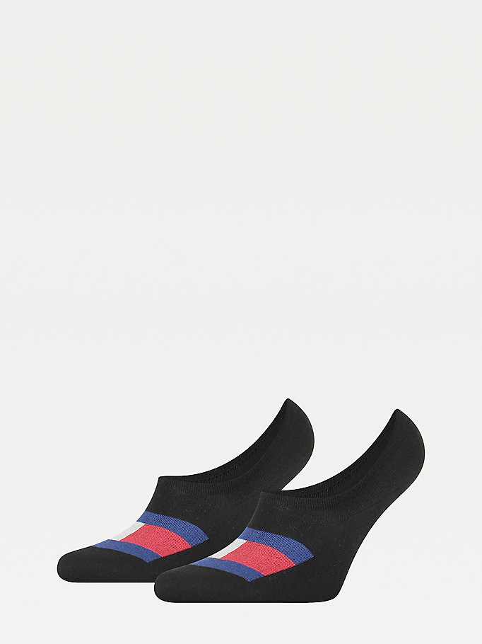 black 2-pack flag footie socks for men tommy hilfiger