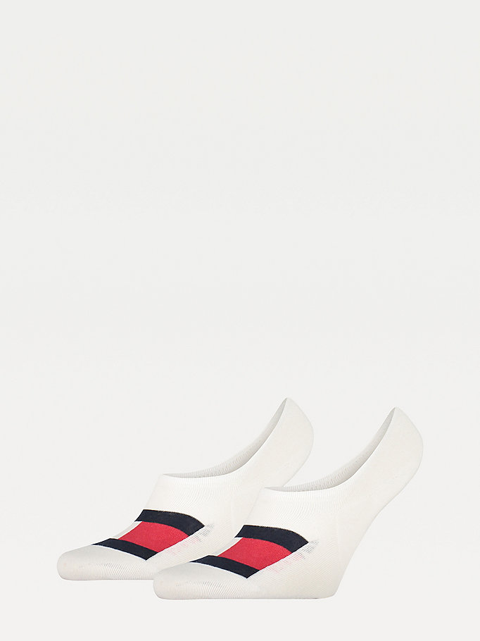 white 2-pack flag footie socks for men tommy hilfiger
