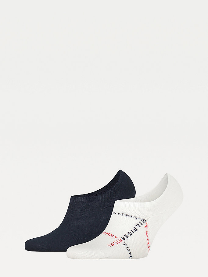 white 2-pack logo footie socks for men tommy hilfiger