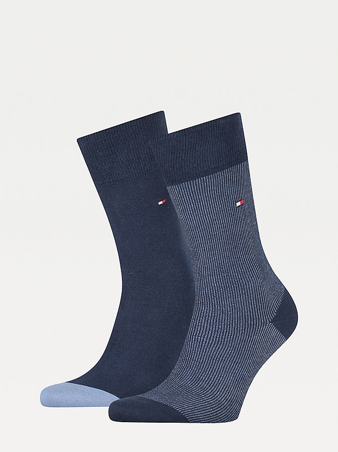 blue 2-pack ribbed socks for men tommy hilfiger