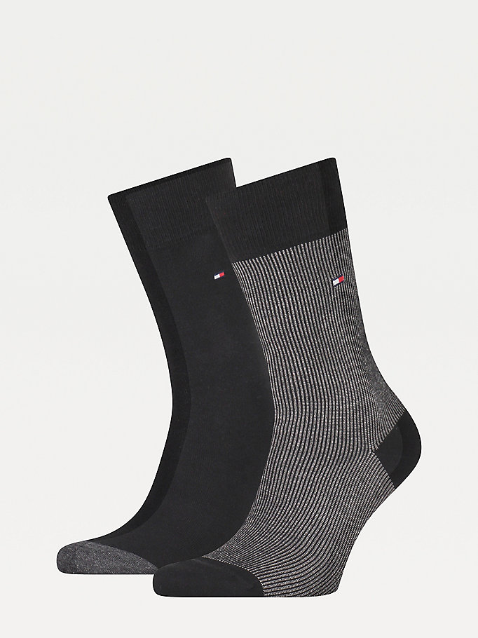 black 2-pack ribbed socks for men tommy hilfiger