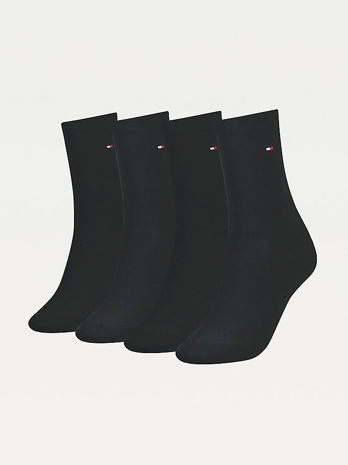 black 4-pack stretch cotton socks for women tommy hilfiger
