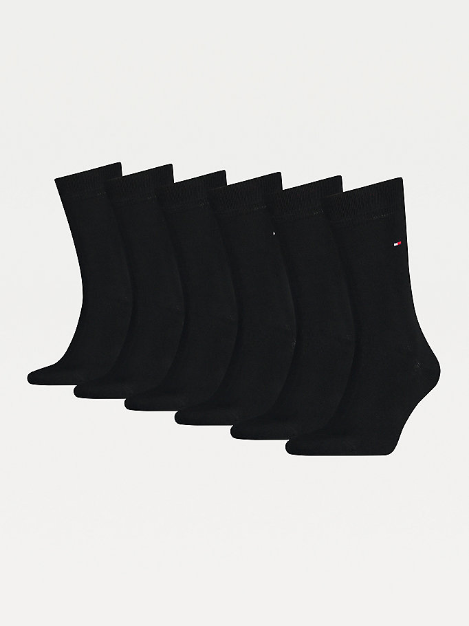 black 6-pack stretch cotton socks for men tommy hilfiger