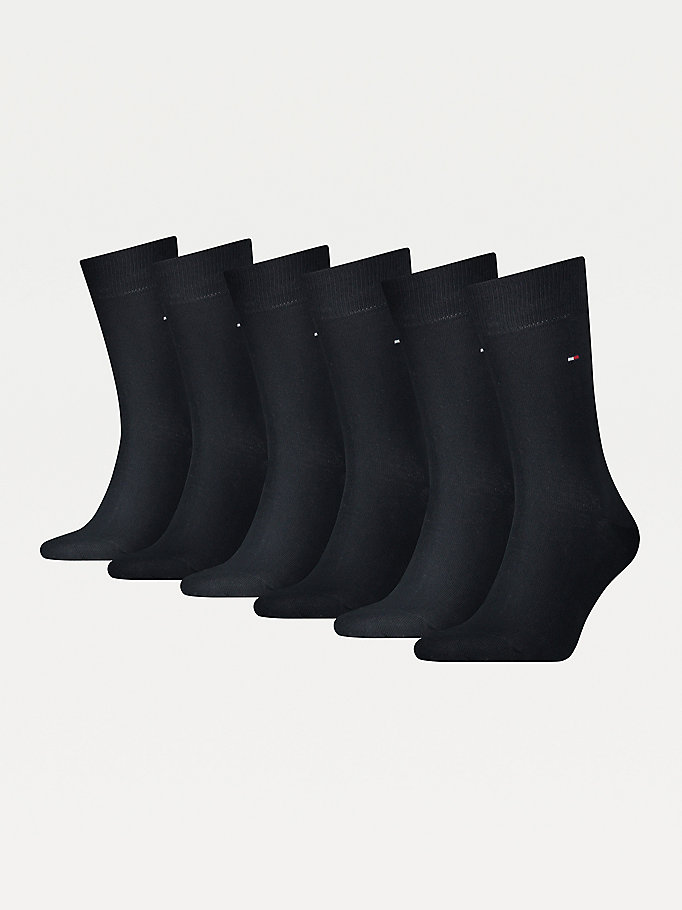 blue 6-pack stretch cotton socks for men tommy hilfiger