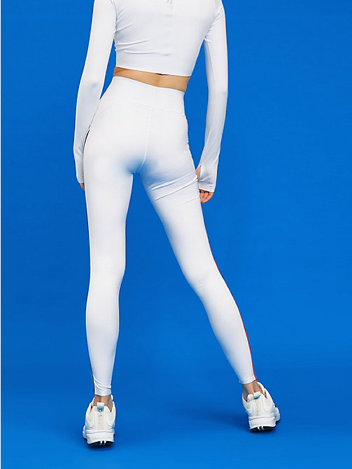 TOMMY SPORT High waist legging met reflecterende tape - PVH WHITE - TOMMY SPORT Dames - detail image 1