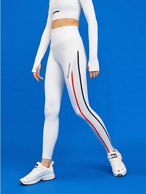 TOMMY SPORT High waist legging met reflecterende tape - PVH WHITE - TOMMY SPORT Dames - main image