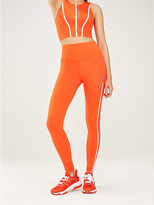 TOMMY SPORT High waist legging met reflecterende tape - CHERRY TOMATO - TOMMY SPORT Dames - main image
