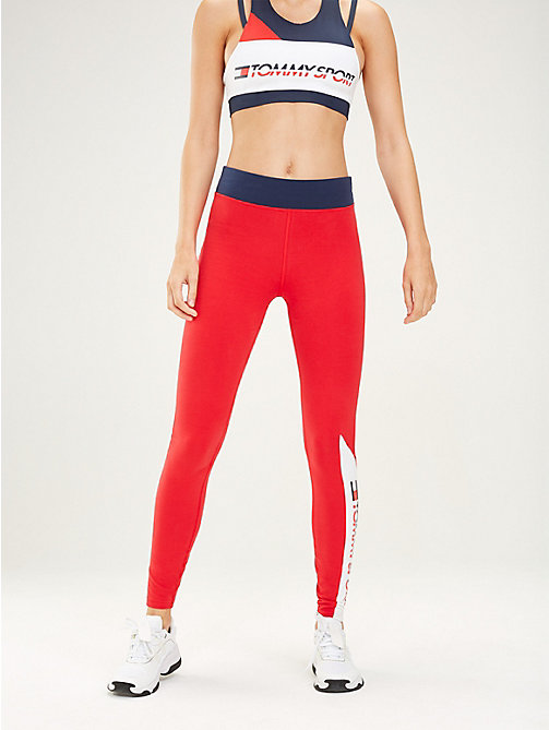 TOMMY SPORT Colour-blocked sportlegging - TRUE RED - TOMMY SPORT Dames - main image